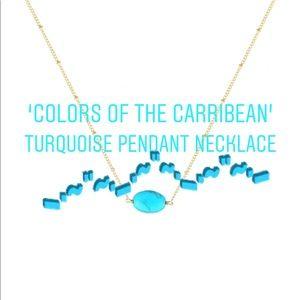 Turquoise Blue Pendant Gold Necklace